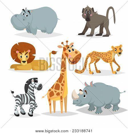 African Animals Cartoon Set. Hippo, Baboon Monkey, Lion, Giraffe, Cheetah, Zebra And Rhino. Zoo Mamm