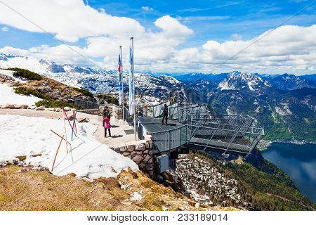 Hallstatt, Austria - May 16, 2017: 5 Fingers Is A Viewpoint Platform In The Dachstein Mountains On M