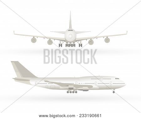 Big Commercial Jet Airplane. Airplane In Profile, From The Front View. Aeroplane Isolated. Aircraft