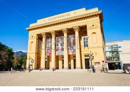 Innsbruck, Austria - May 21, 2017: Tiroler Landestheater Innsbruck Or Tyrolean State Theatre Is The