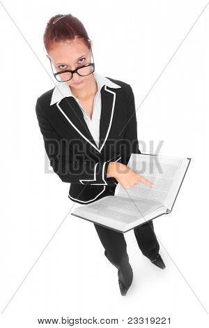 Teacher with book.