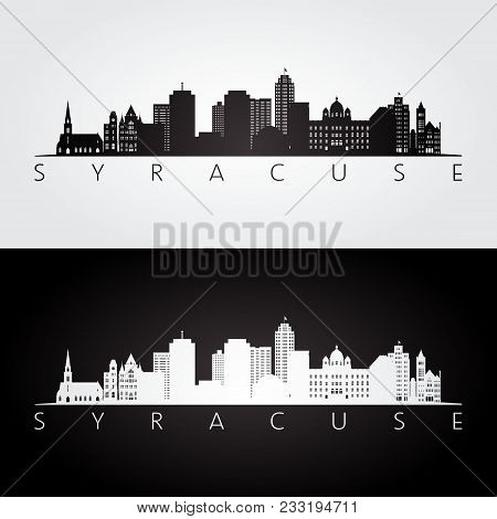 Syracuse Usa Skyline And Landmarks Silhouette, Black And White Design, Vector Illustration.