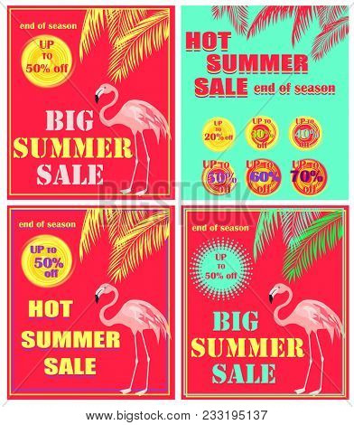 Hot red discount posters variation with hot summer sale lettering, offer label, abstract sun, palm leaves  and pink flamingo. Art deco style. Vector background for banner, flyer, tag, card, brochure