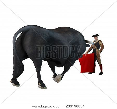 3d Render Of A Raging Bull Attacking A Proud Male Matador Isolated On A White Background