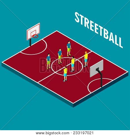 Players On The Court Yard For Streetball Games