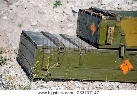 Vintage Military Suitcase, Army Box Of Ammunition In Ground. Ammo From Second World War. Soviet Army