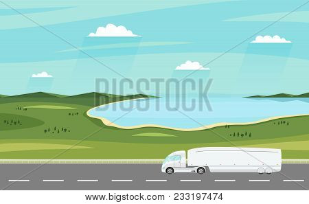 Truck On The Road. Summer Rural Landscape With Lake. Heavy Modern Electric Trailer Truck. Logistic A