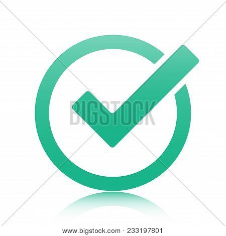 Green Tick Checkbox Vector Illustration Isolated On White Background.