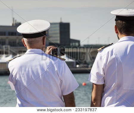 Trieste, Italy - 06 October 2017: Italian Naval Officers Taken Photos During The 49 Barcolana On 06