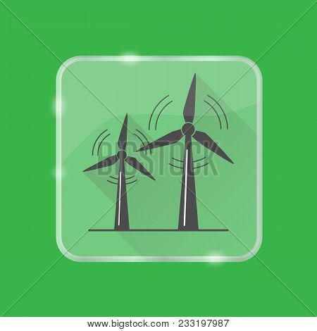 Wind Turbine Silhouette Icon With Long Shadow In Flat Style On Transparent Button. Rotating Windmill