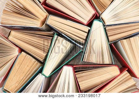 Plenty Of Colorful Books. Used Hardback Books. View From Above. Education Background