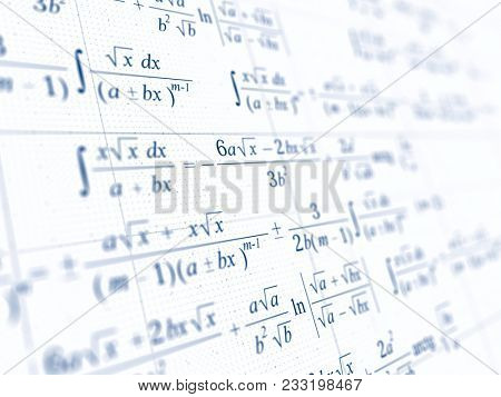 Math concept - Mathematical integral formulas. 3d rendering