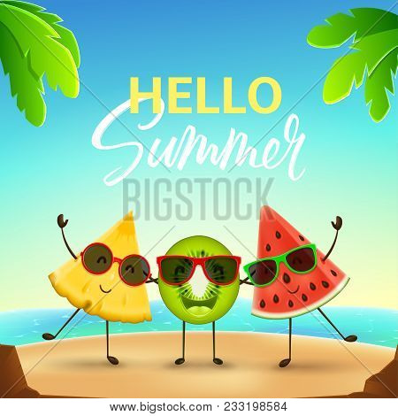 Funny Summer Banner With Cute Fruit Characters. Vector Illustration Of Cartoon Watermelon, Kiwi And