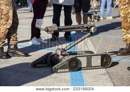 Heavy-duty, multi-mission robot suitable for missions such as explosive detection, explosive ordnance. poster
