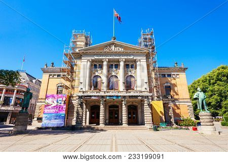 Oslo, Norway - July 20, 2017: National Theatre Or Nationaltheatret In Oslo. National Theatre Is One