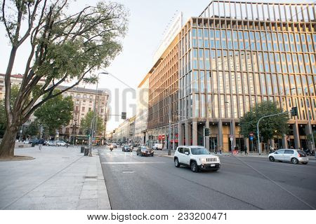 Milan, Italy - October 24, 2017: Piazza Duca d'Aosta Near Milano Centrale Railway Station. Morning City Traffic on the Road.