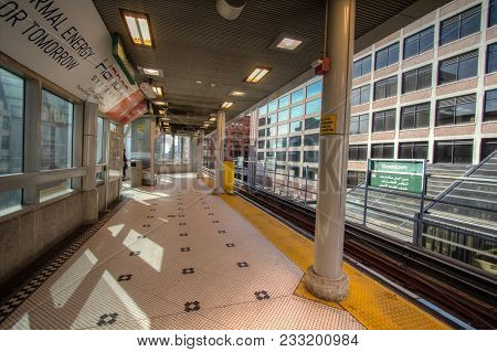 Detroit, Michigan, Usa - March 22, 2018: Interior Of The People Mover Monorail Transportation System