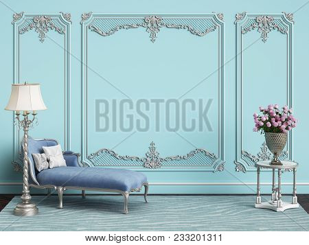 Classic Furniture In Blue And Silver Colors In Classic Interior With Copy Space.blue Walls With Silv