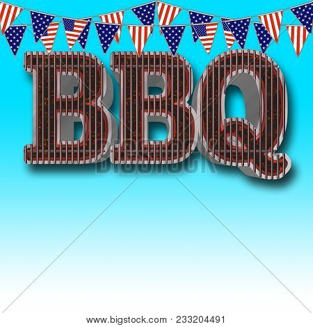 Stock Illustration - Template Bbq Party, Big Glowing Coals Bbq Empty Copy Space, 3d Illustration,