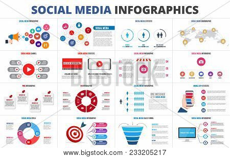 Vector Sales Funnel, Statistic, Map, Online Video Chanel And Pins. Social Media Infographic Set. Pre