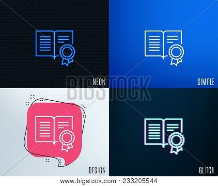 Glitch, Neon Effect. Diploma With Medal Line Icon. Certificate Document Symbol. Approved Badge Or Wi