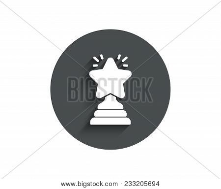 Rank Star Simple Icon. Success Reward Symbol. Best Result Sign. Winner Cup. Circle Flat Button With