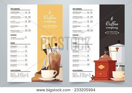 Vector Coffee Card Design Template. Coffee Menu A4 Concept With Illustration And Text. Cream And Dar