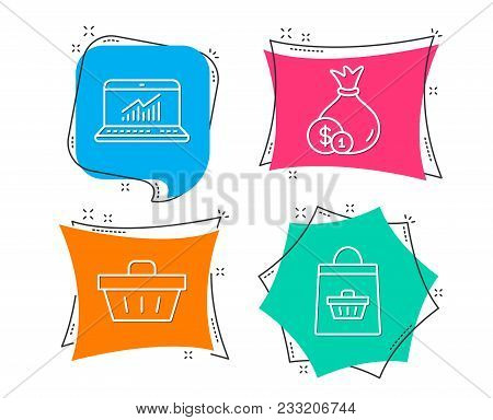 Set Of Cash, Online Statistics And Shopping Basket Icons. Online Buying Sign. Banking Currency, Comp