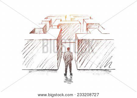 Vector Hand Drawn Business Concept Sketch. Bisinessman Standing Backwards At Entrance Of Maze And He