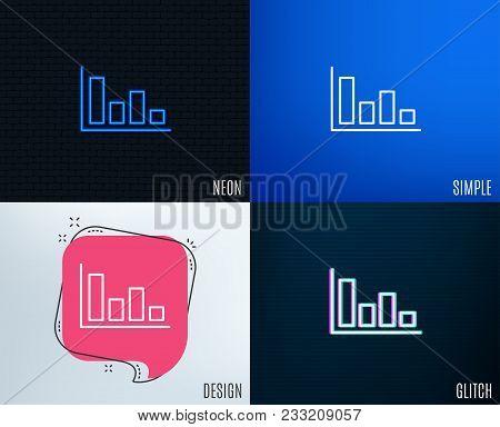 Glitch, Neon Effect. Histogram Column Chart Line Icon. Financial Graph Sign. Stock Exchange Symbol.