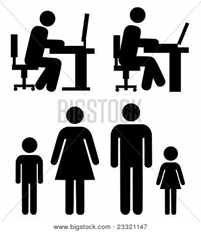 People at work, family - vector pictograms.