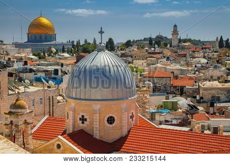Jerusalem. Cityscape Image Of Old Town Jerusalem, Israel With The Church Of St. Mary Of Agony And Th