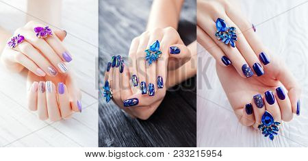 Three Types Of Manicure With Earrings On White And Black Wooden Background. Combination Of Purple, W