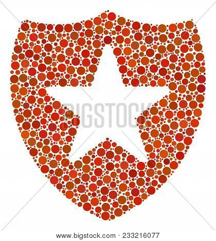 Guard Mosaic Of Circle Dots In Various Sizes And Color Shades. Dots Are Organized Into Guard Vector