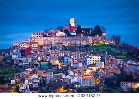 Town Of Motovun On Istrian Hill Dawn View, Istria Region Of Croatia