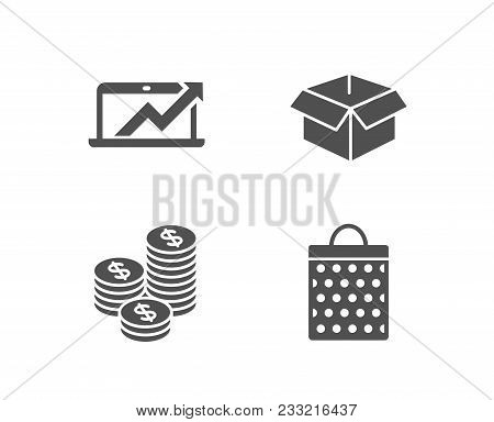 Set Of Sales Diagram, Coins And Opened Box Icons. Shopping Bag Sign. Sale Growth Chart, Cash Money,