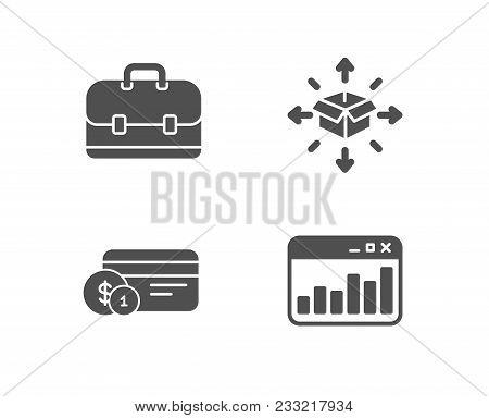 Set Of Parcel Delivery, Payment Method And Portfolio Icons. Marketing Statistics Sign. Logistics Ser