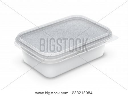 Vector Rectangular Plastic Container With Foil And Transparent Lid For Butter, Yoghurt Or Melted Che