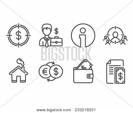 Set Of Businessman Case, Wallet And Money Exchange Icons. Business Targeting, Dollar Target And Paym