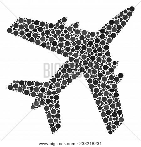 Jet Plane Collage Of Circle Dots In Different Sizes And Color Hues. Circle Dots Are Organized Into J
