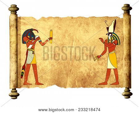 Old parchment with Egyptian gods images Toth and Horus. Mock up template. Copy space for text. Isolated on white background. 3d render