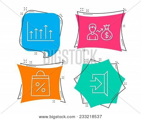 Set Of Shopping Bag, Sallary And Growth Chart Icons. Exit Sign. Supermarket Discounts, Person Earnin