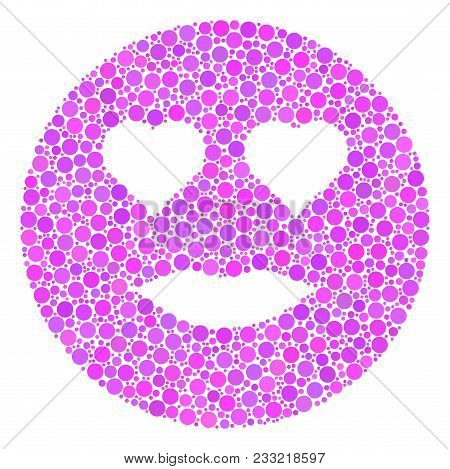 Lady Love Smiley Composition Of Dots In Various Sizes And Color Tinges. Round Dots Are Combined Into