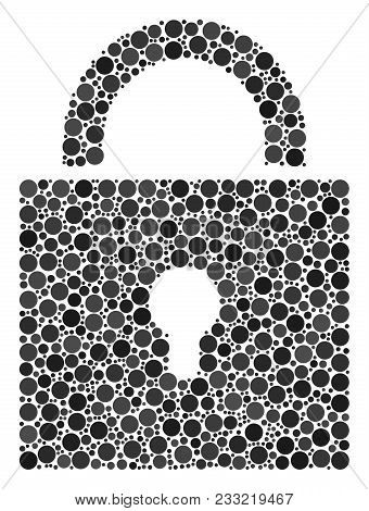 Lock Collage Of Filled Circles In Various Sizes And Color Tints. Circle Elements Are Organized Into