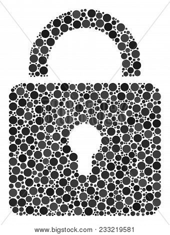Lock Composition Of Round Dots In Variable Sizes And Color Tones. Filled Circles Are United Into Loc