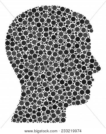 Man Head Profile Collage Of Dots In Various Sizes And Color Tints. Dots Are Composed Into Man Head P