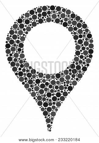 Map Marker Mosaic Of Round Dots In Variable Sizes And Color Shades. Circle Elements Are United Into