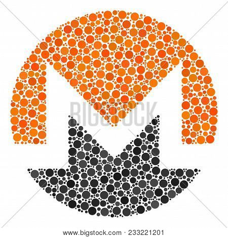 Monero Currency Collage Of Dots In Different Sizes And Color Tints. Filled Circles Are Composed Into