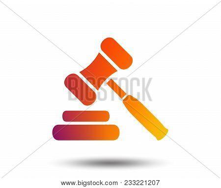 Auction Hammer Icon. Law Judge Gavel Symbol. Blurred Gradient Design Element. Vivid Graphic Flat Ico