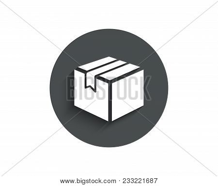 Shipping Box Simple Icon. Logistics Delivery Sign. Parcels Tracking Symbol. Circle Flat Button With